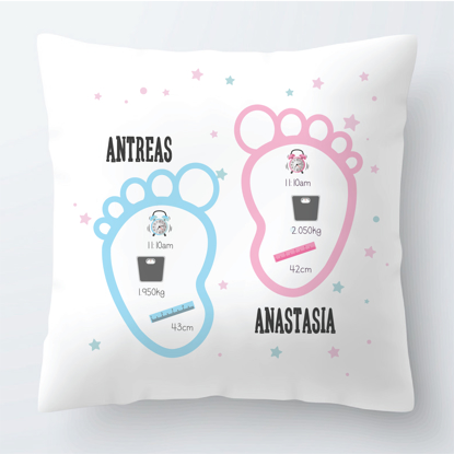 Picture of Baby Twins Footprints Theme Pillow