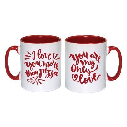 Picture of I Love You More Than Pizza Red Inner Mug