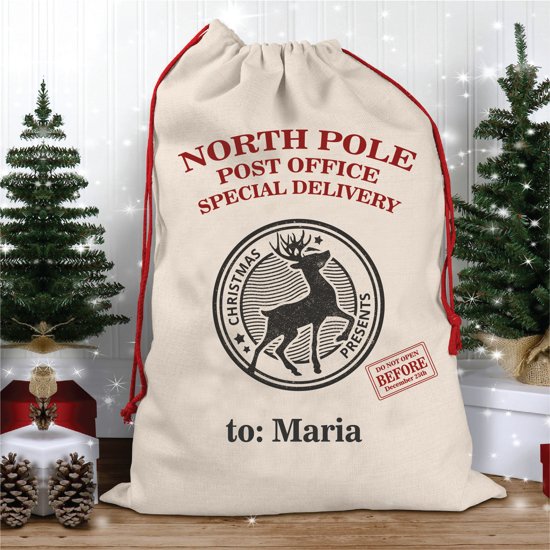 Picture of North Pole Christmas Sack With Stamp
