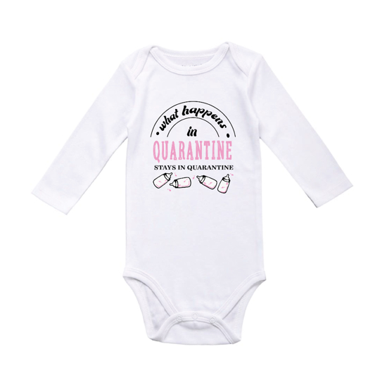 Picture of What Happens In Quarantine Pink Baby Bodysuit