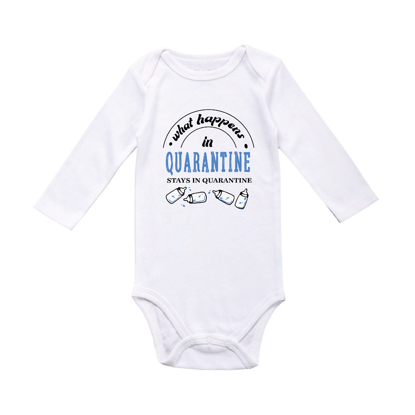 Picture of What Happens In Quarantine Sky Blue Baby Bodysuit
