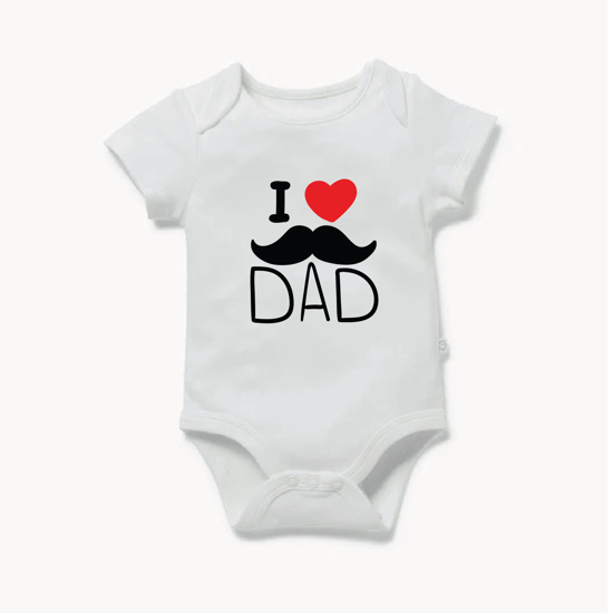 Picture of I Love Dad Mustache Baby Bodysuit