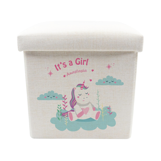 Picture of It's A Girl Unicorn Toy Box - Storage Stool