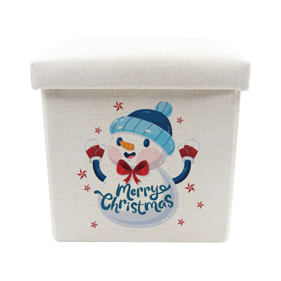 Picture of Merry Christmas Snowman Toy Box - Storage Stool