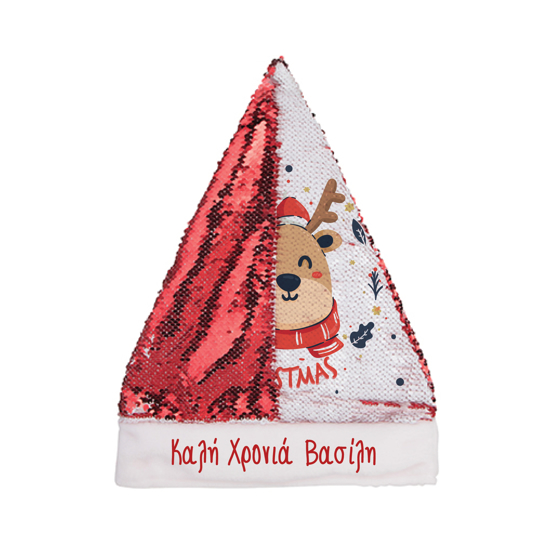 Picture of Reindeer Red Sequin Christmas Hat