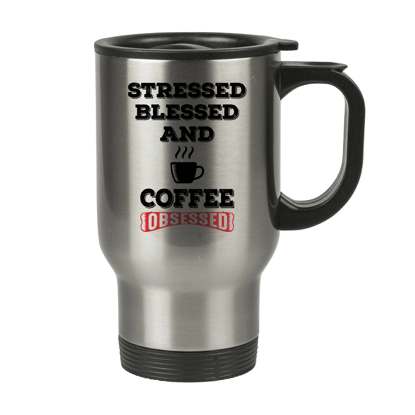 Picture of Coffee Obsessed Silver Tumbler with Handle
