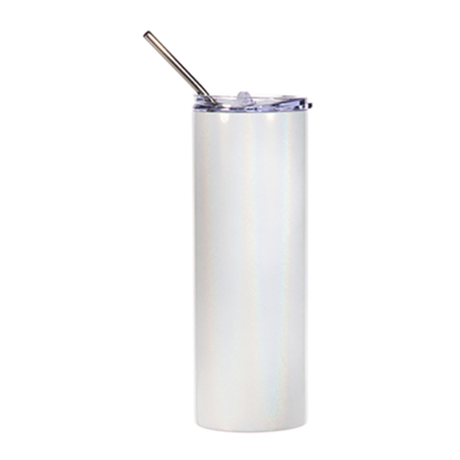 Picture of White Skinny Bottle With Metal Straw