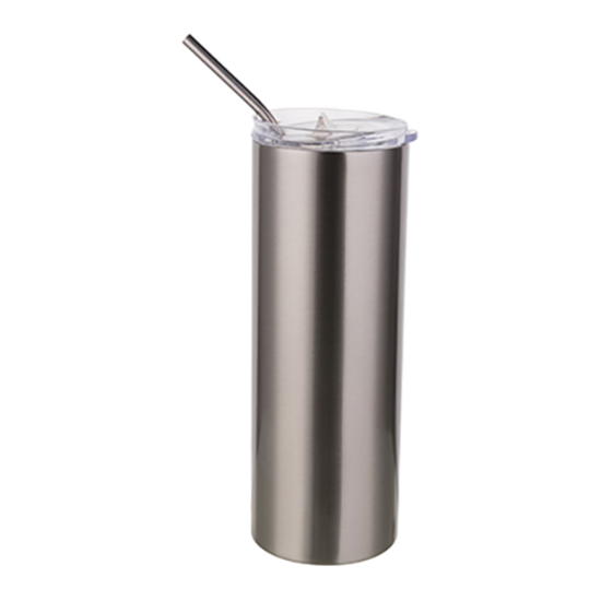 Picture of Silver Skinny Bottle With Metal Straw