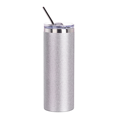 Picture of Silver Glitter Skinny Bottle With Metal Straw
