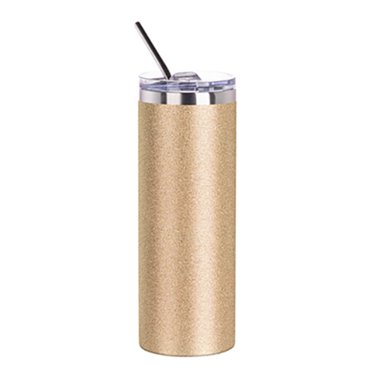 Picture of Gold Glitter Skinny Bottle With Metal Straw