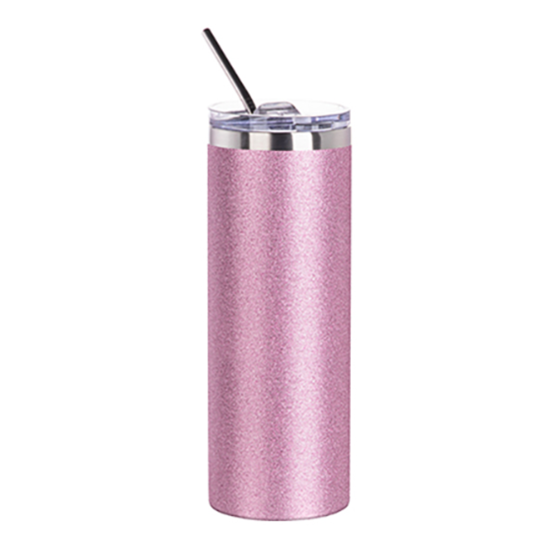 Picture of Pink Glitter Skinny Bottle With Metal Straw