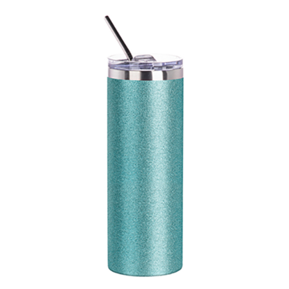 Picture of Blue Glitter Skinny Bottle With Metal Straw