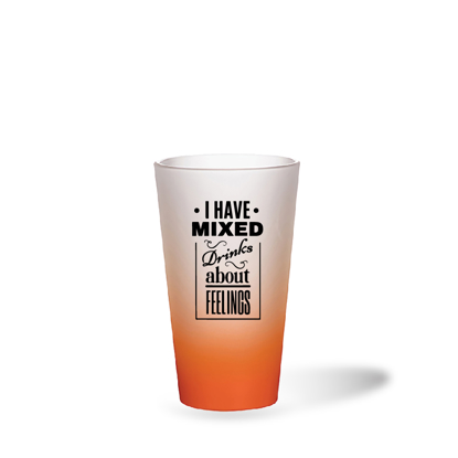 Picture of I Have Mixed Drinks Orange Frosted Latte Glass Mug
