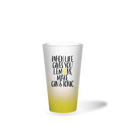 Picture of When Life Gives You Lemons Yellow Frosted Latte Glass Mug