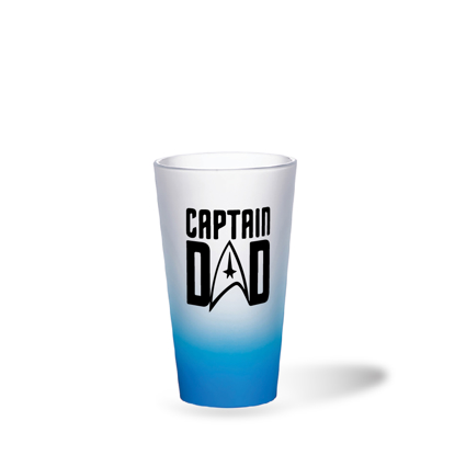 Picture of Captain Dad Light Blue Frosted Latte Glass Mug