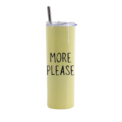 Picture of More Please Yellow Skinny Bottle With Metal Straw