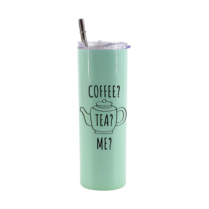 Picture of Coffee? Tea? Me? Green Mint Skinny Bottle With Metal Straw