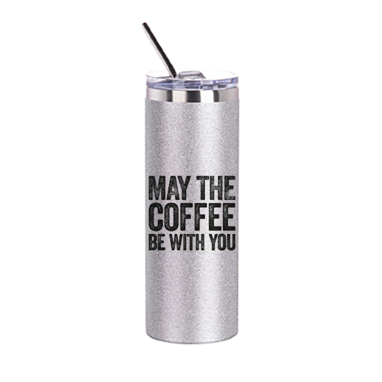 Picture of May the Coffee Be With You Silver Glitter Skinny Bottle With Metal Straw