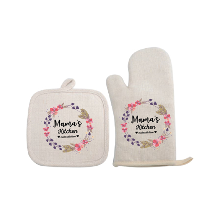 Picture of Mama's Kitchen Linen Glove & Pot Mat Set