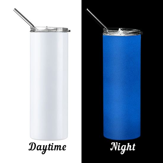 Picture of Glow in the Dark White to Blue Skinny Bottle With Metal Straw