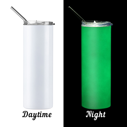 Picture of Glow in the Dark White to Green Skinny Bottle With Metal Straw