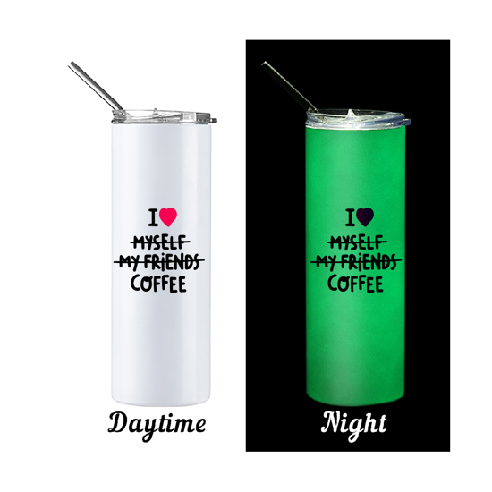 Picture of I Love Coffee Glow in The Dark Skinny Bottle With Metal Straw