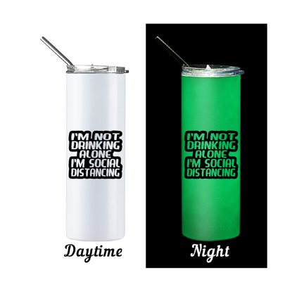Picture of Social Distancing Glow in The Dark Skinny Bottle With Metal Straw