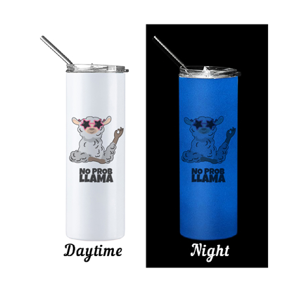 Picture of No Prob Llama Glow in The Dark Skinny Bottle With Metal Straw